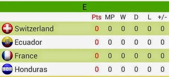 Group E Piala Dunia Brazil 2014