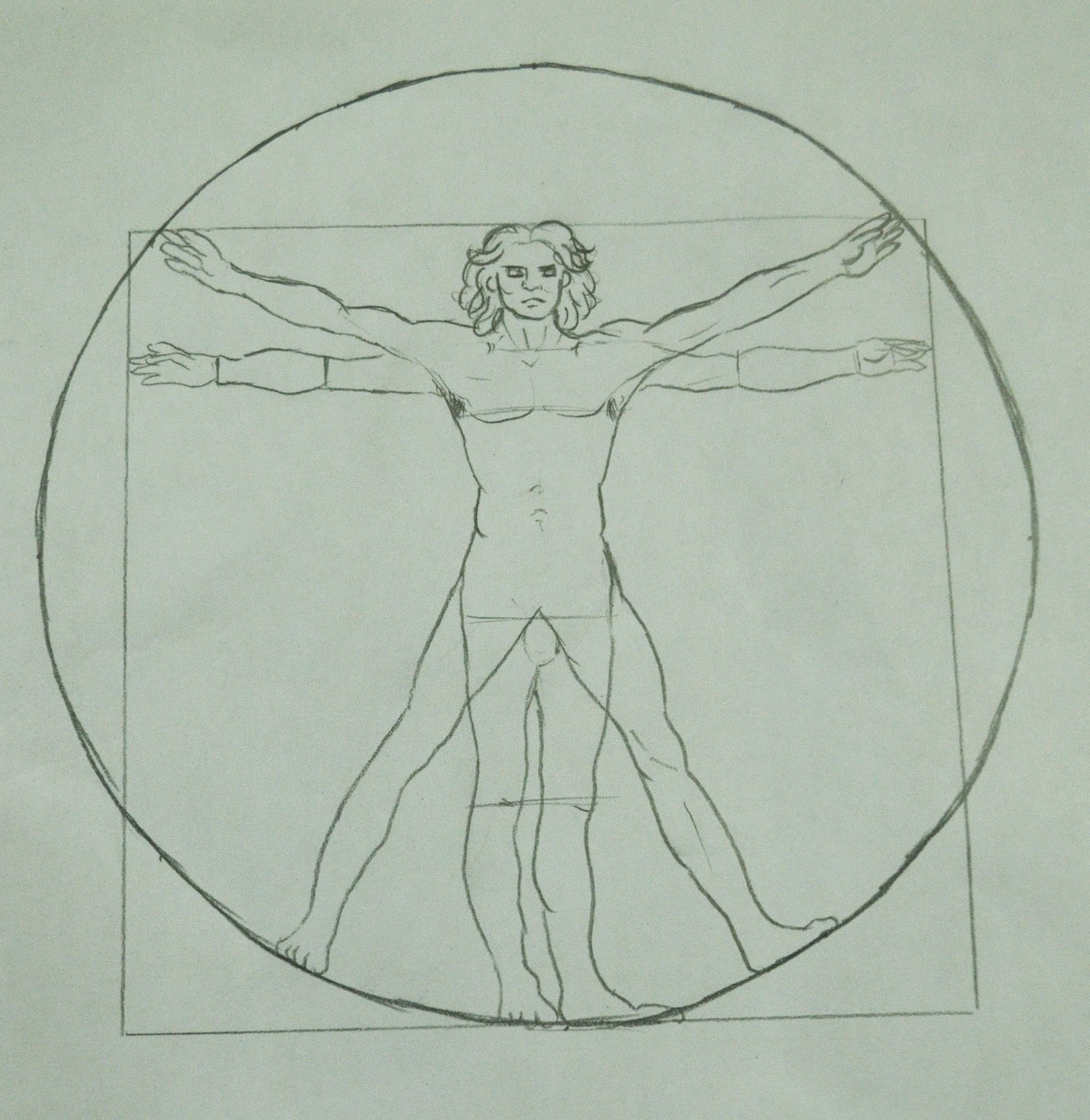 "the vitruvian man The ""melting vitruvian man"", as it was called by the artist, half submerged in the  warming waters of the arctic ocean, resembled a drowning."