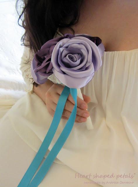 Bouquet rosas em tecido