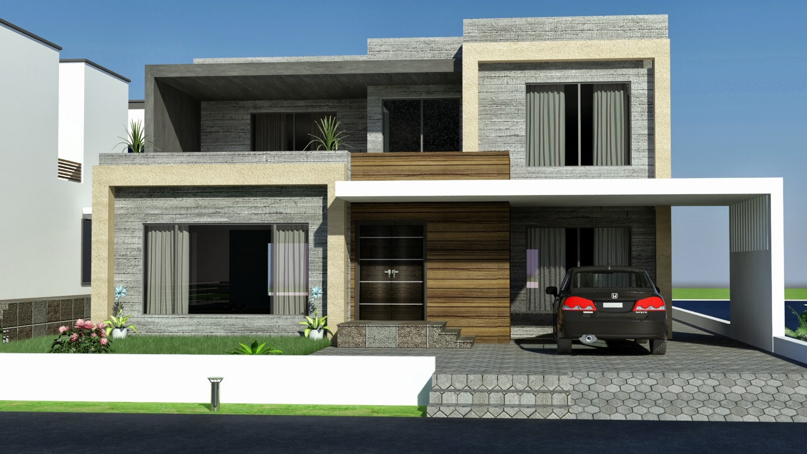 Front elevation modern house home design inside for Modern home design 3d