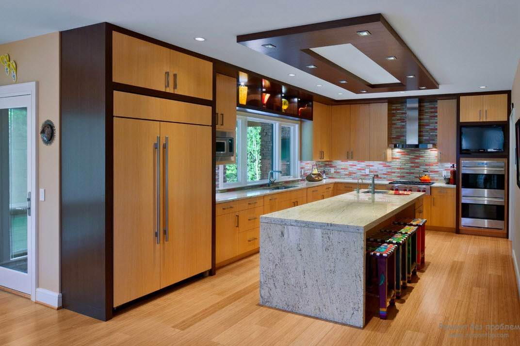 Plasterboard suspended ceiling systems for the kitchen Modern kitchen light fixtures