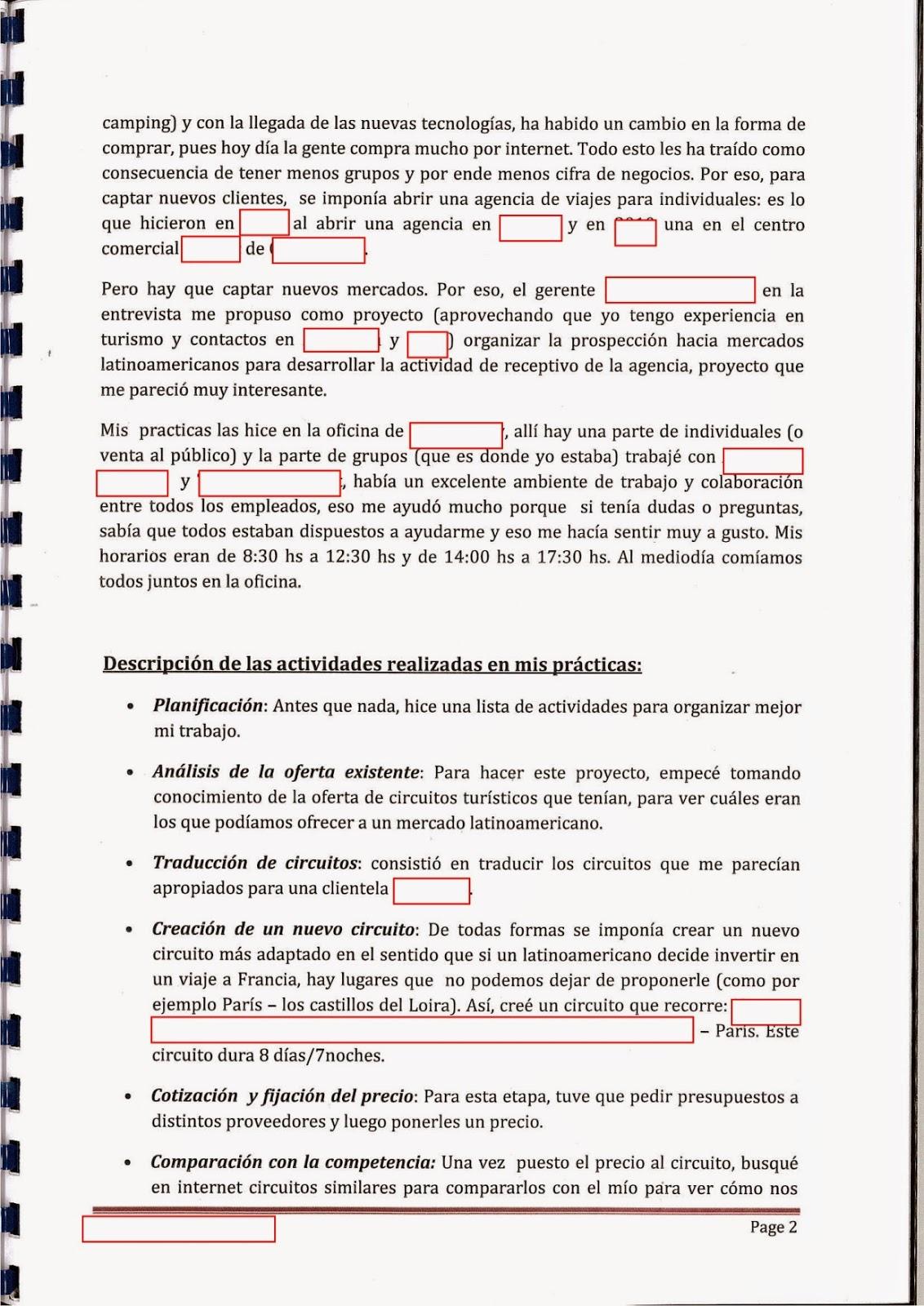 Assez Ex 2 Rapport de stage + fiche communication AG LV1 espagnol | BTS  VN23