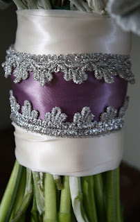 Lace Ribbon Wrapped Wedding Bouquet - Splendid Stems Floral Designs