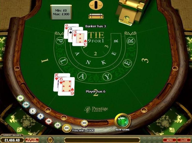 Prestige Casino Baccarat Screen
