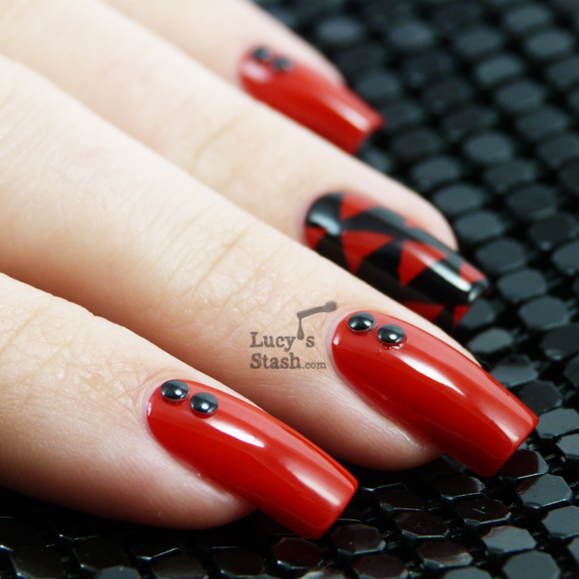 Rock Chick Nail Art design featuring Clinique Red Red Red and Barry ...