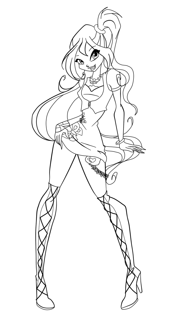 rock band coloring pages - free winx rock band coloring pages
