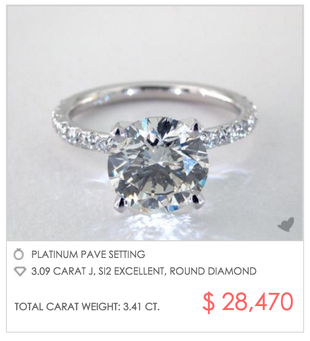 how much does a 3 carat engagement ring cost this is a question with many answers and hereu0027s one a james allen shopper chose their platinum pave setting