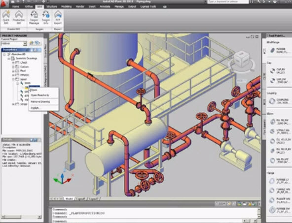 Sample 3d And 2d Plant Plant Piping Systems With Autocad