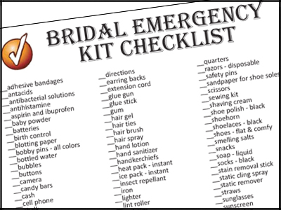 Click To Print Your Bridal Emergency Kit Checklist