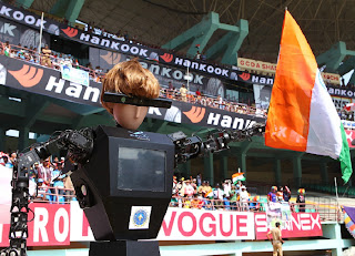 The-state-association's-robot-umpire-waves-the-Indian+flag-India-v-England-2nd-ODI-Kochi-January-15-2013