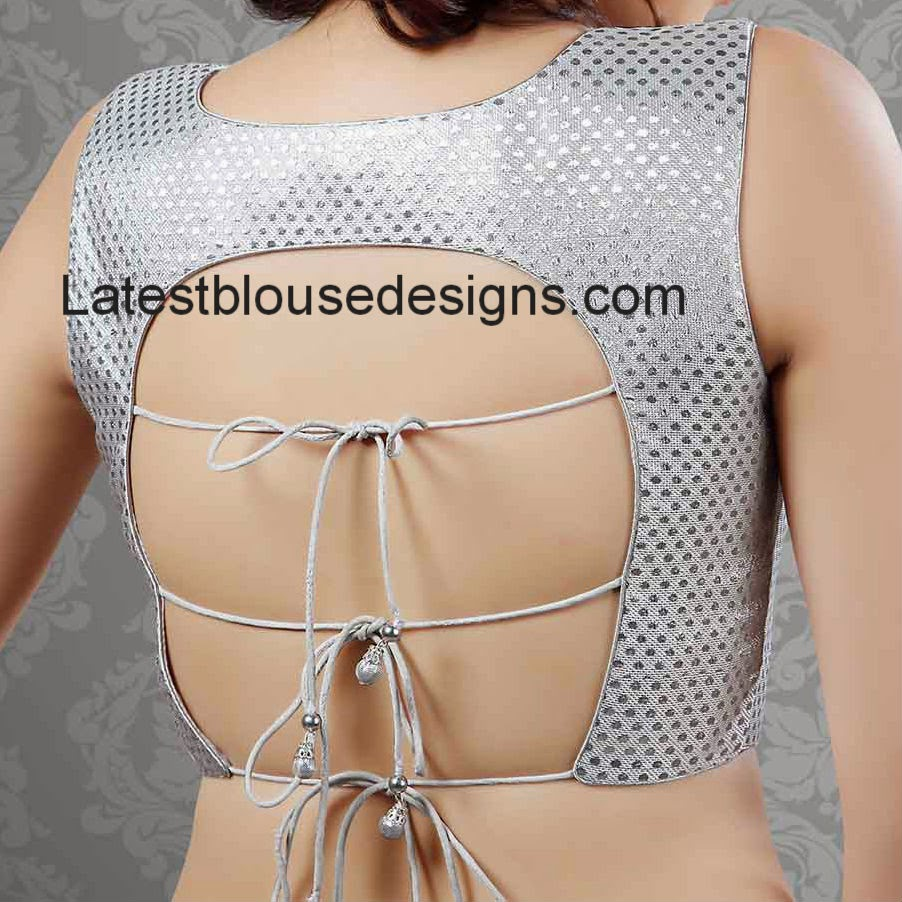silver tie back blouse
