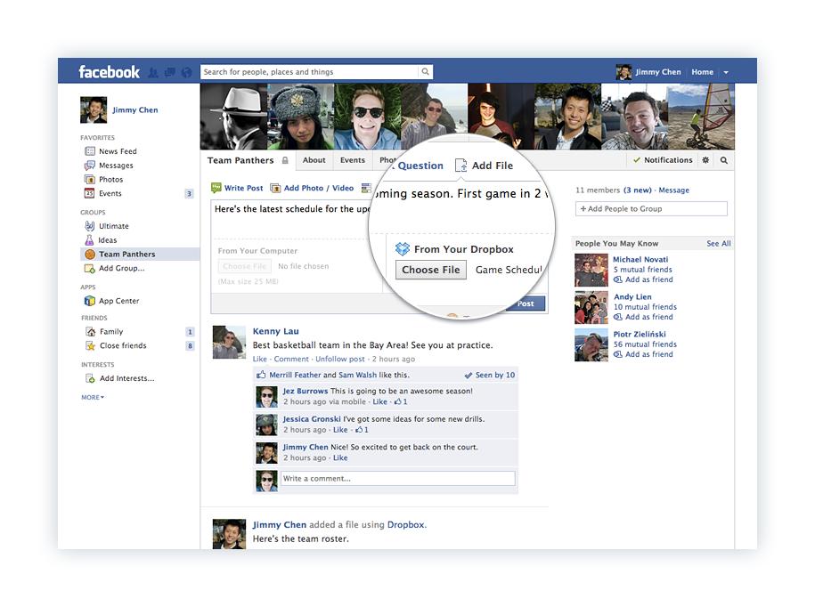 facebook dropbox gruppi