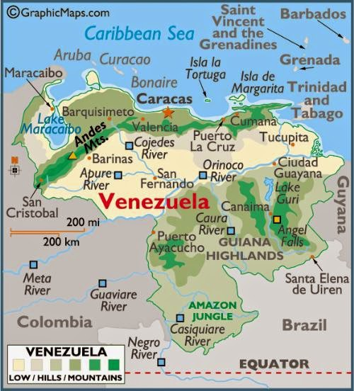 Geographic maps of Venezuela