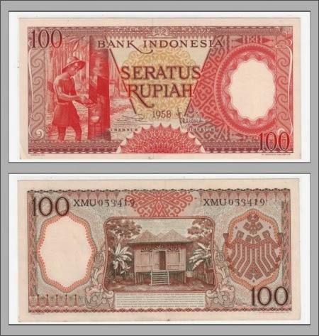 Uang Kertas 100 Rupiah 1958