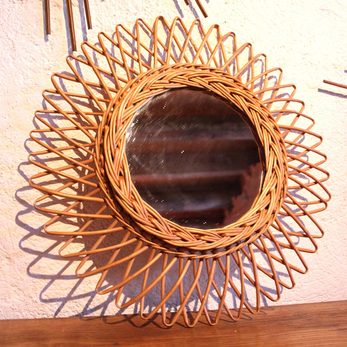 Chicbaazar objets vintage 50 60 70 miroir osier soleil for Miroir soleil osier