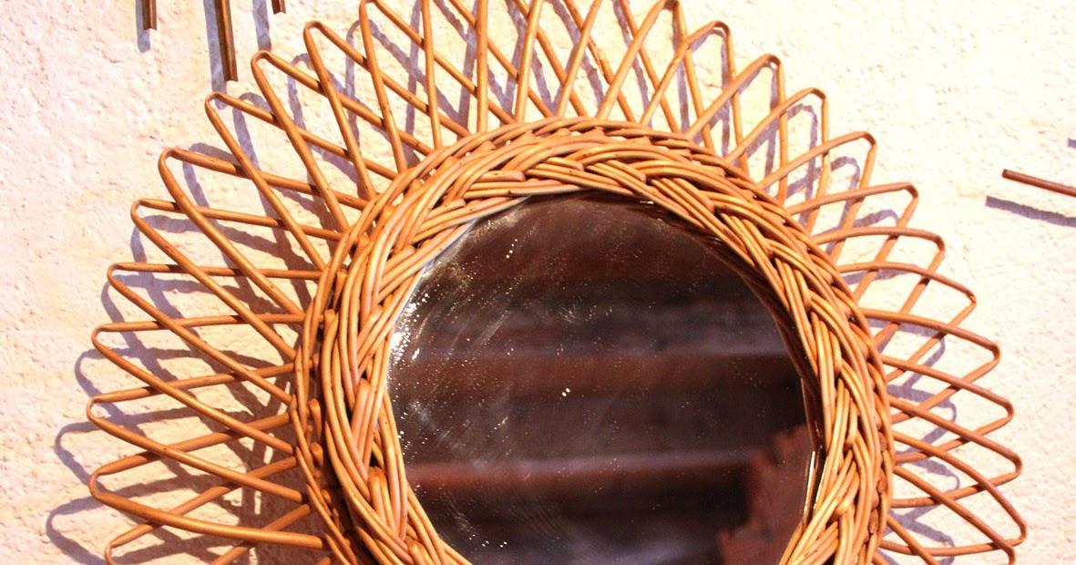 Chicbaazar objets vintage 50 60 70 miroir osier soleil for Miroir 50 x 60