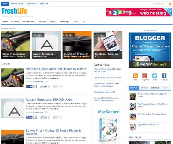 FreshLife - SEO Responsive Blogger Template