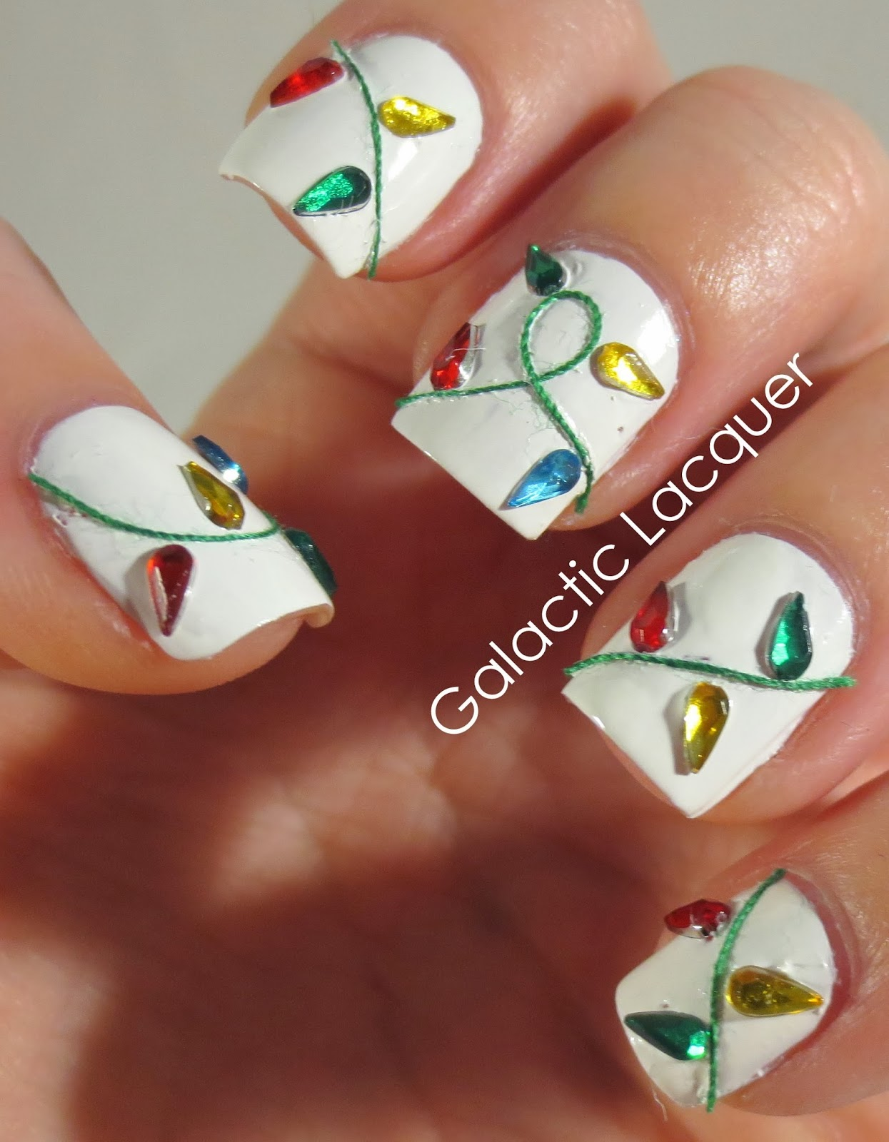 galactic lacquer christmas light nail art tutorial