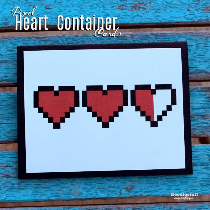 Doodlecraft Legend of Zelda Heart Containers Love Notes – Legend of Zelda Valentine Card