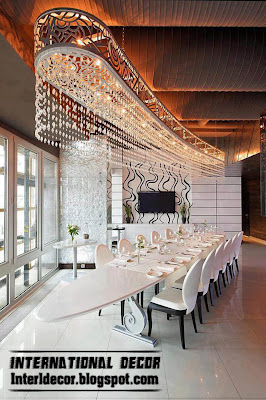 modern luxury Italian dining room furniture ideas white, crystal Italian chandelier