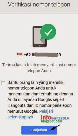 tahap akhir verifikasi nomor hp akun google