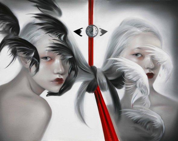 Mu Lei pinturas a óleo de mulheres chinesas surreais