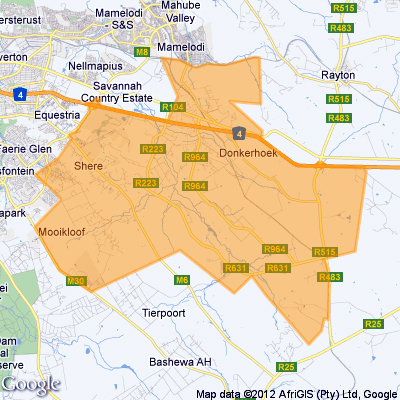 Map showing area under Boschkop Police jurisdiction - Pretoria East