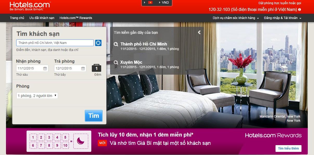 Hotels.com - trang web đặt phòng khách sạn uy tín ở Việt Nam