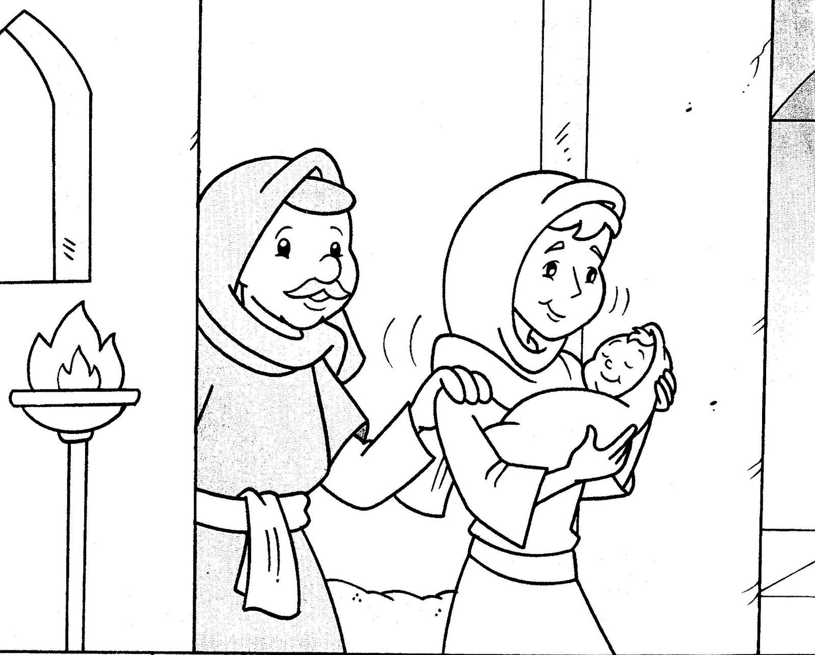 Gambar Cerita Alkitab: Simeon dan Hana bertemu bayi Yesus (Lukas2:21
