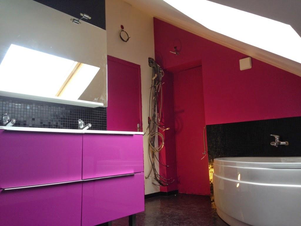La salle de bain mosaique noire se termine for Salle bain rose