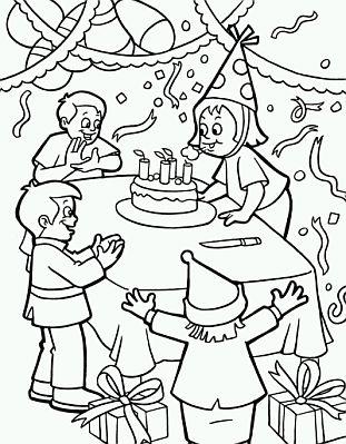 fiesta de cumpleanos para colorear - Selo.l-ink.co