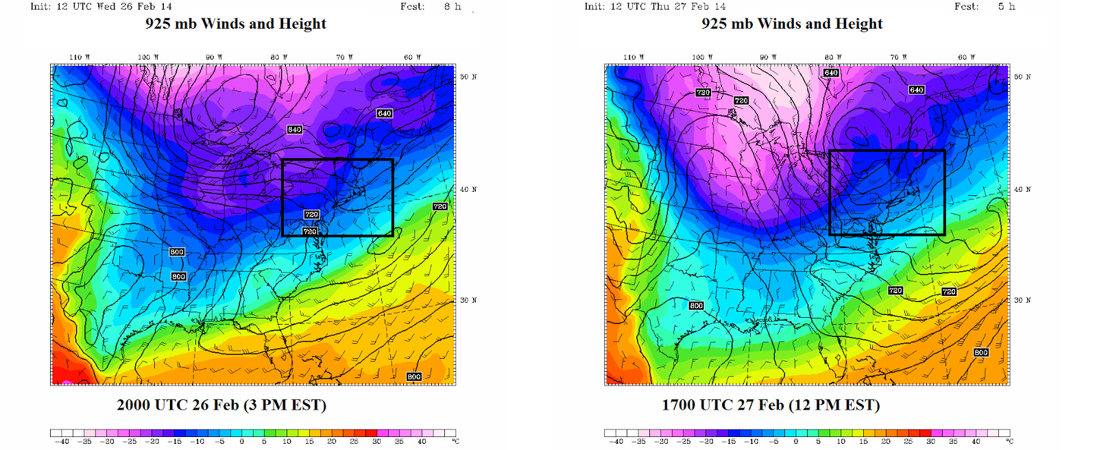 left wednesday february 26th at 3 pm and right thursday february 27th at 12 pm showing 925 mb temperatures shaded and a box highlighting our region