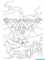 Halaman Mewarnai Gambar Avatar Terbang Dengan Tongkat Pengendali Udara