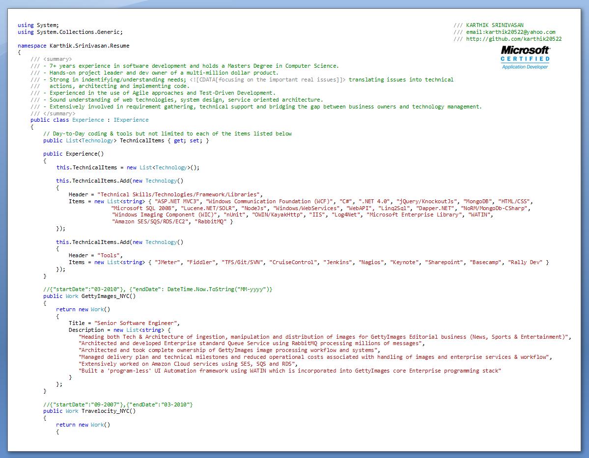 karthik s evolution of my resume karthik srinivasan