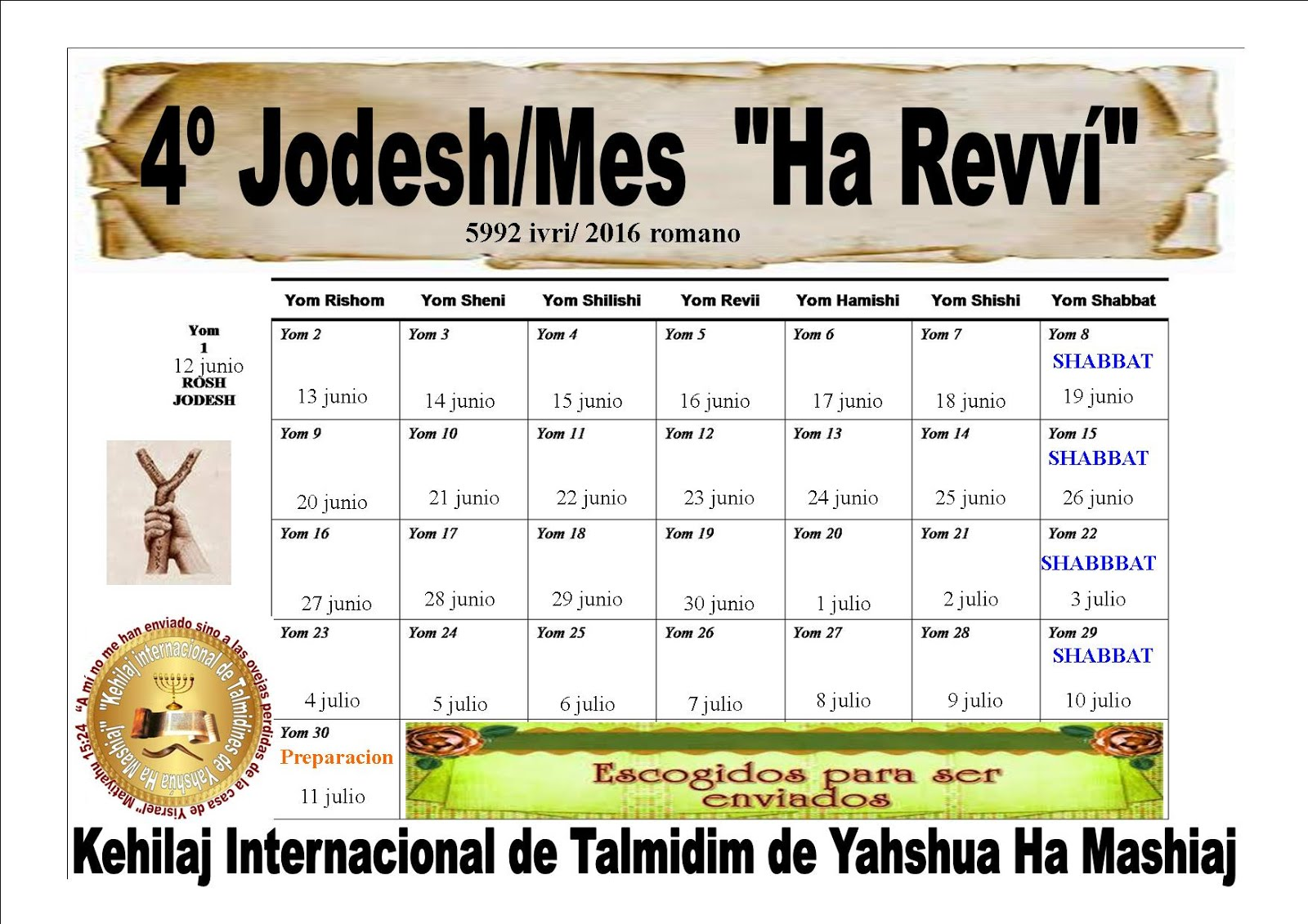 CALENDARIO DEL 4º JODESH