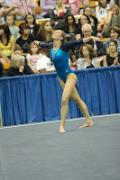 Sexy Gymnast Wearing Sexy Tight Shiny Leotard during floor routine at UCLA Bruins 2010 Gymnastics Championships
