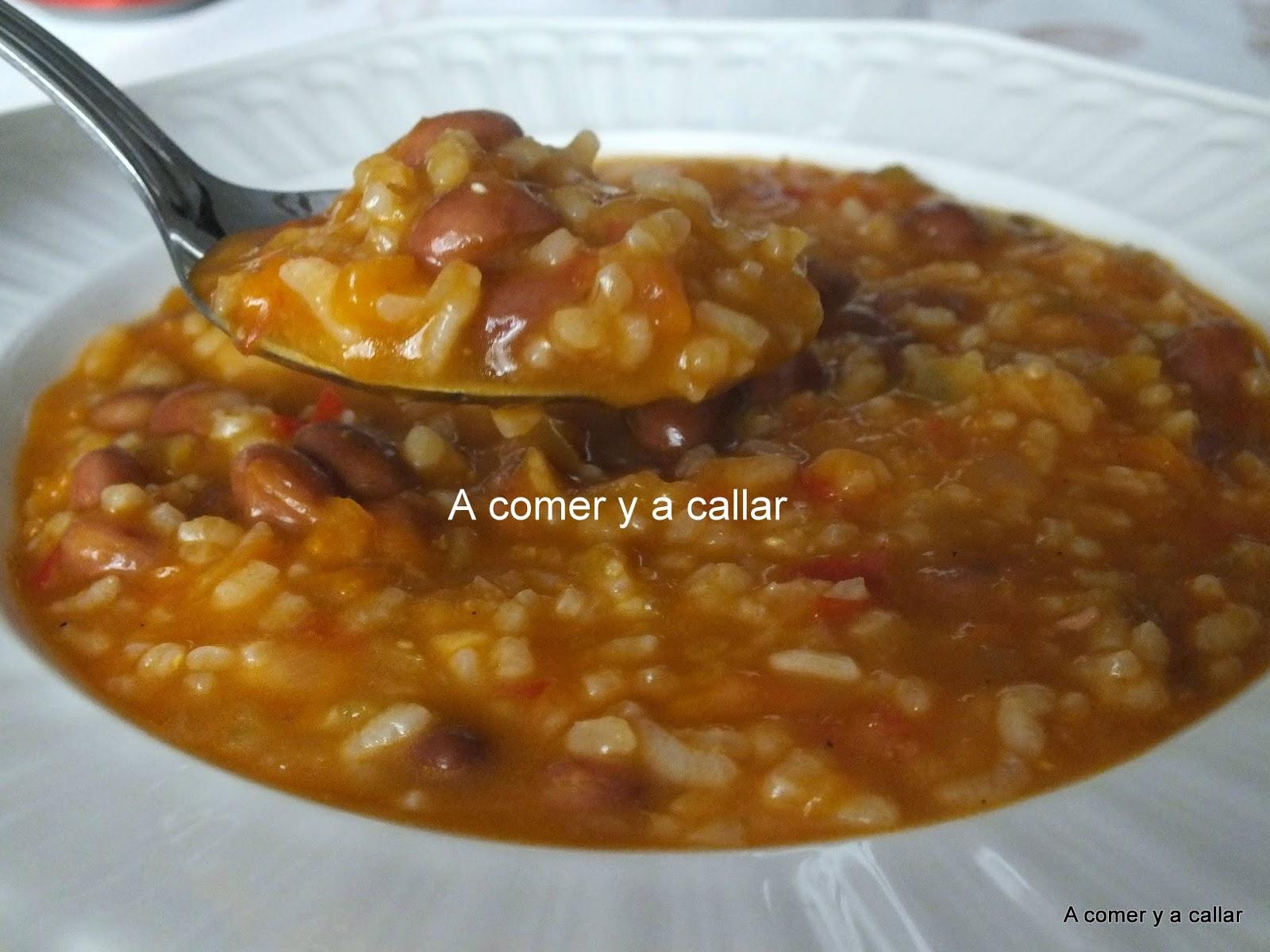 A comer y a callar potaje de judias pintas con arroz - Arroz con judias pintas ...