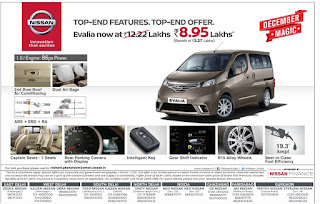 Nissan Evalia December 2015 Magic | Biggest offer/discount of the year