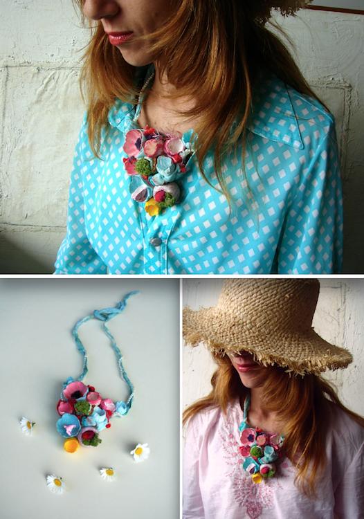 collana festa primavera di carta, eco gioielli di carta dipinti a mano stile boho chic