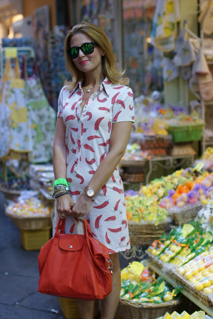 red hot chili peppers, red hot chili peppers dress, happiness dress, Longchamp bag, Fashion and Cookies, fashion blogger