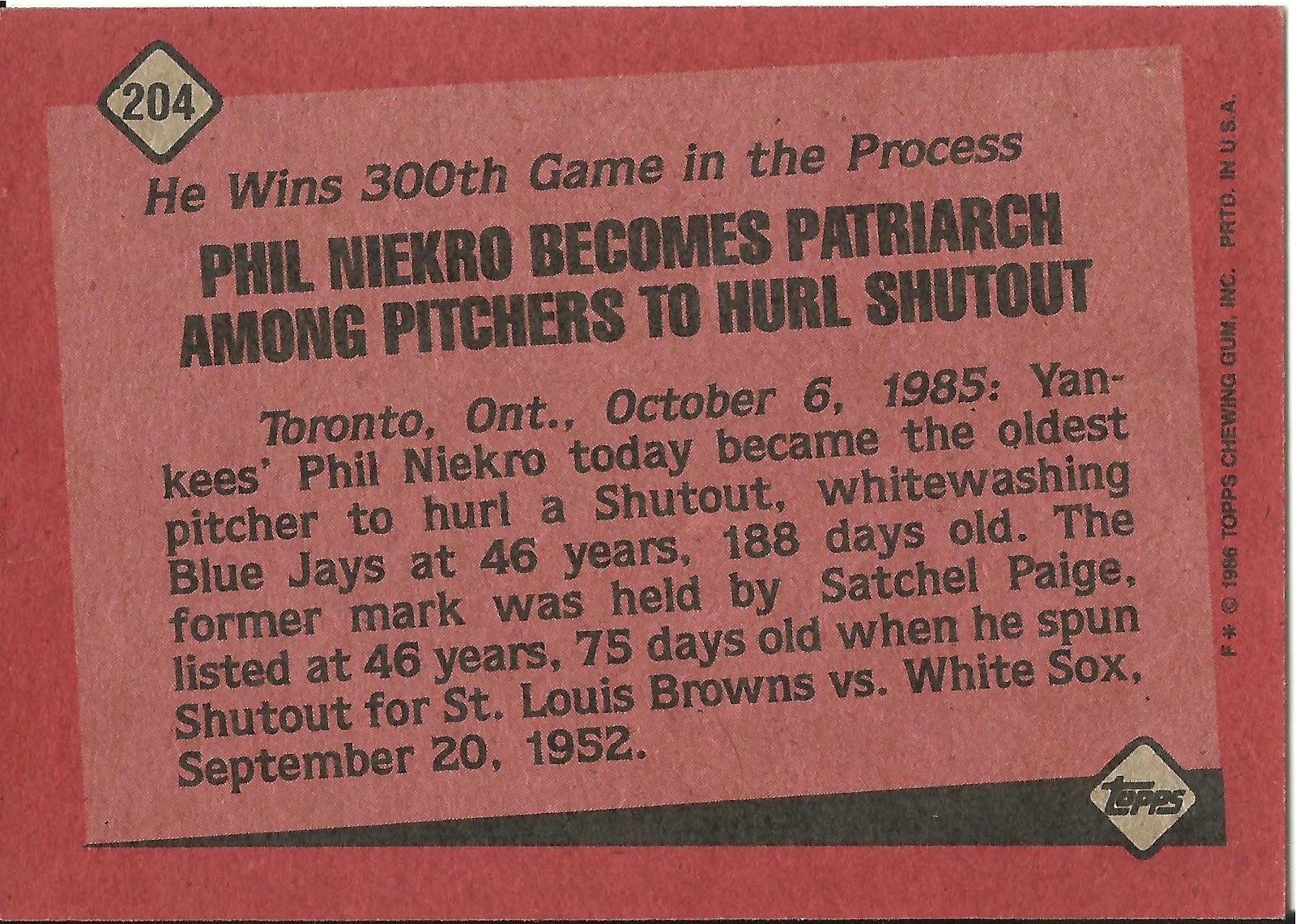 1986 Topps Blog 204 Record Breaker Phil Niekro