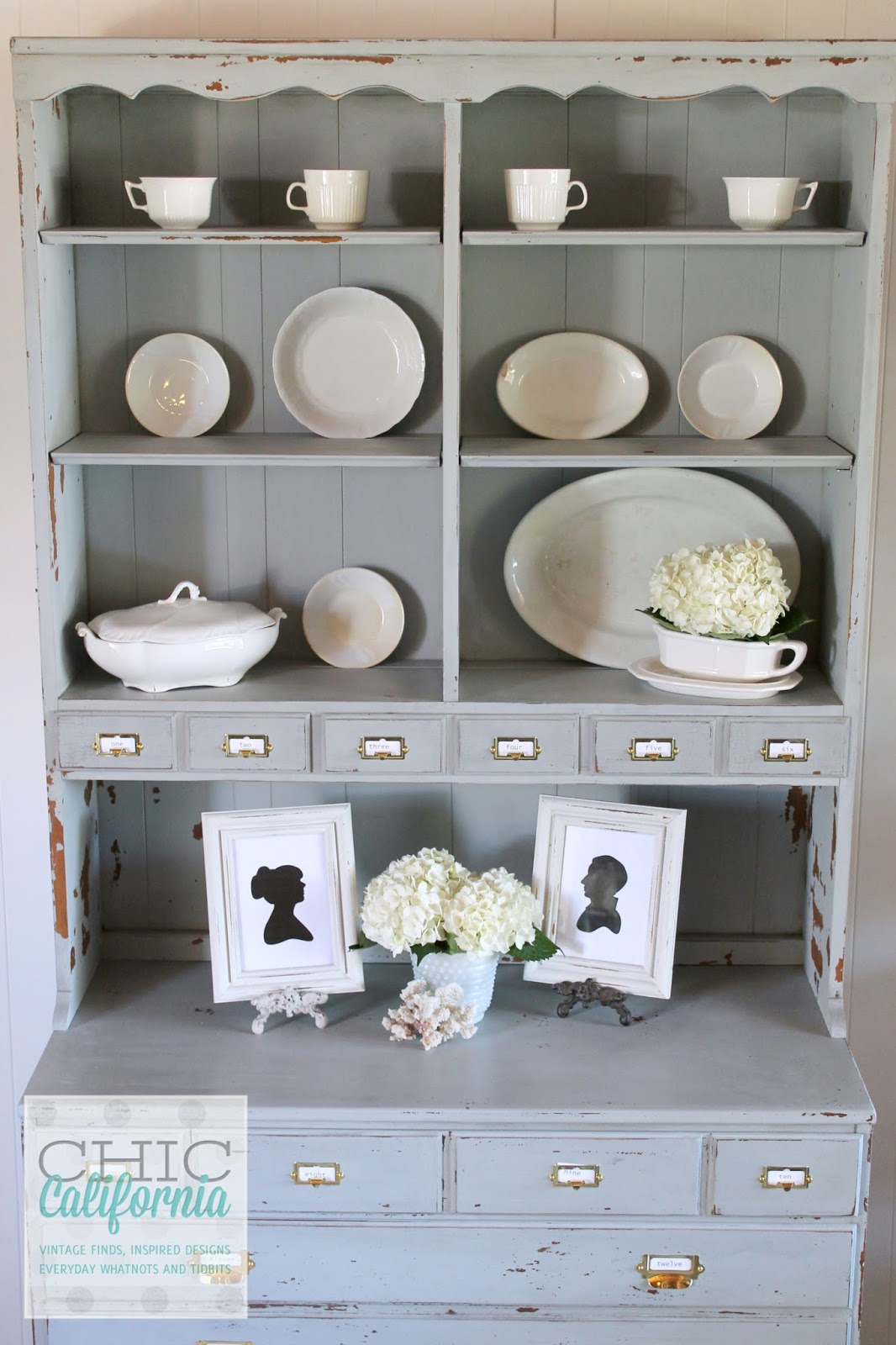Milk paint hutch makeover