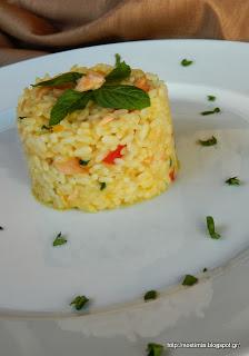 Ριζότο με σολομό, κολοκύθα και άρωμα δυόσμου-Mint scented salmon pumpkin risotto