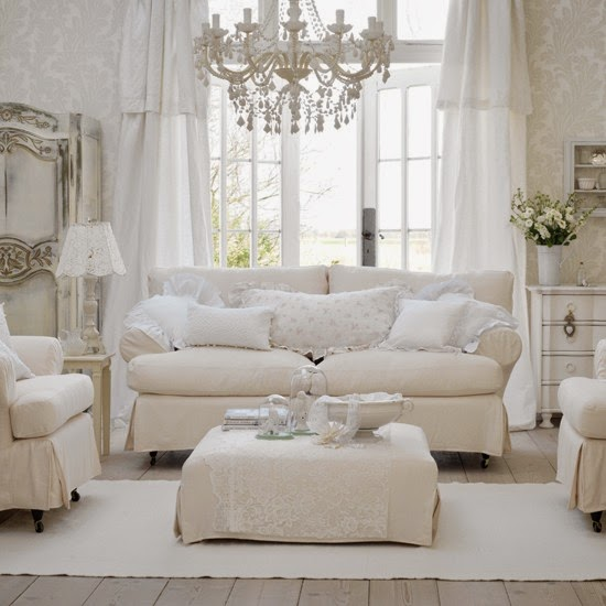 Country White Living Room With Chandelier Light And Lace Lamp