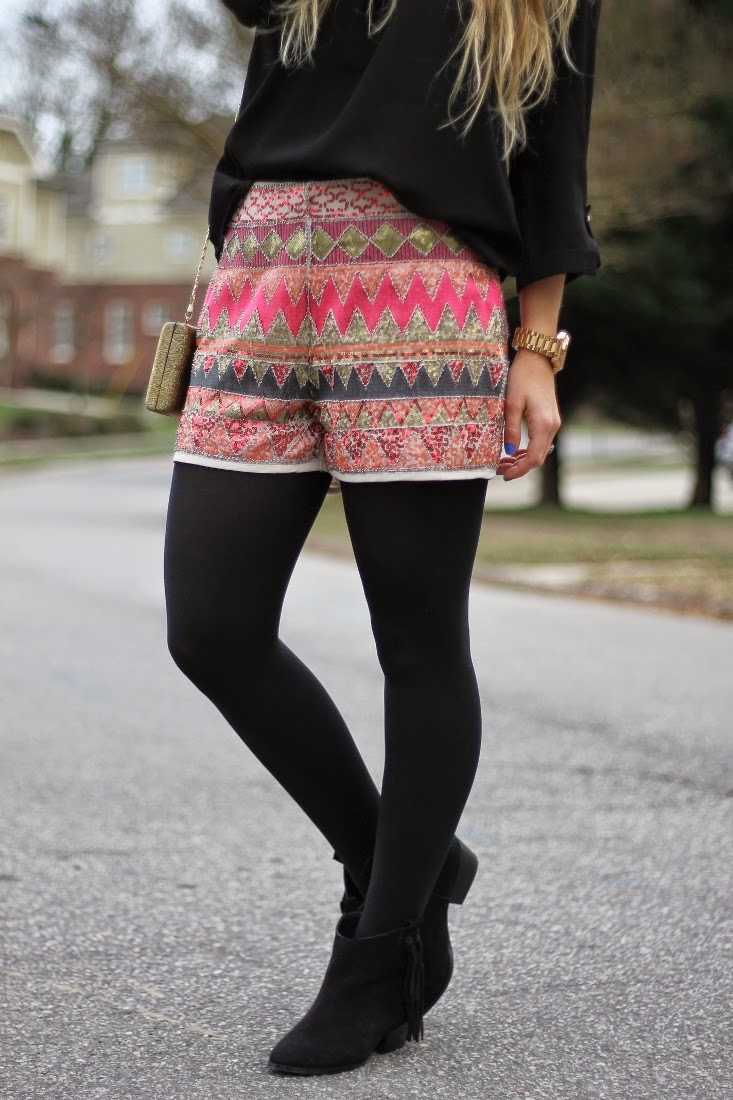 sequin shorts with tights and ankle boots