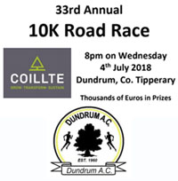 Probably one of the fastest 10k courses in Munster... Wed 4th July 2018