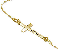 Gold Plated Side Cross Necklace