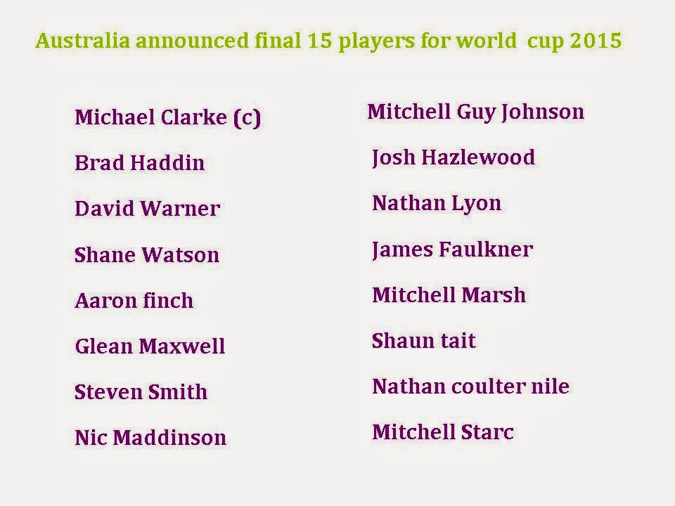 Australia Final 15 squad for world cup 2015
