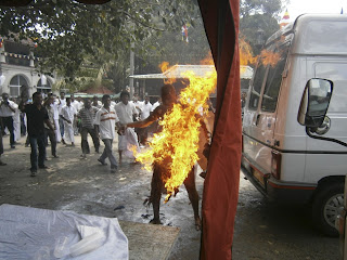 A Buddhist Monk In Sri Lankan Sets self ablaze to protest killing of cattle
