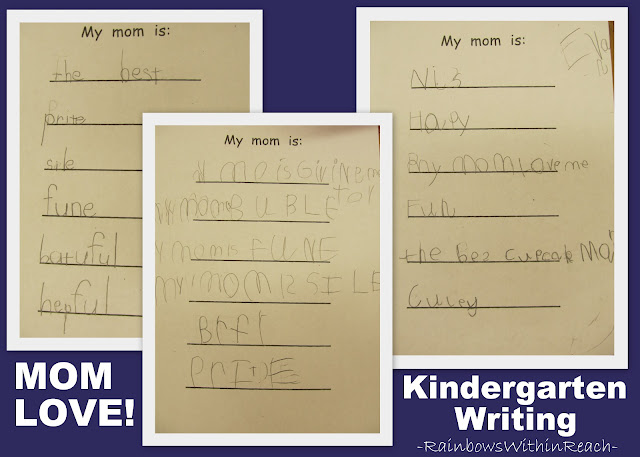 photo of: kindergarten Mother's Day writing, kindergarten fine motor development, invented spelling